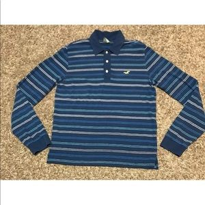 Hollister Mens XL Rugby Striped Polo Long Sleeve